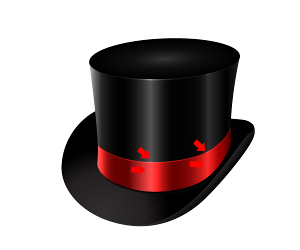 How to Create a Fancy Top Hat in Adobe Illustrator 38/></figure> <hr /> <h2>Step 19</h2> <p>We will also create edges for the brim. Just use the same technique from the previous steps. Duplicate (Ctrl / Cmd + C, Ctrl / Cmd + F) the shape you are creating the edge for.</p> <p>Remove unwanted anchor points (using Direct Selection Tool (A) ).</p> <p>Apply a Stroke with a certain thickness (Width) and for the Profile select Width Profile 1.</p> <p>Under the Object select Expand Appearance and apply a Fill color.</p> <p>These are the edges you should create.</p> <figure class=