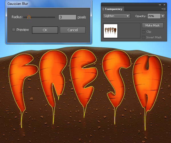 Create a Carrot Text Effect in Adobe Illustrator 11