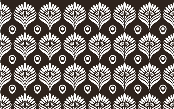 Black and White Peacock Pattern